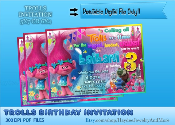 photograph about Trolls Printable Invitations known as Trolls Birthday Social gathering Invitation- Trolls Celebration Concept-Printable Invitation