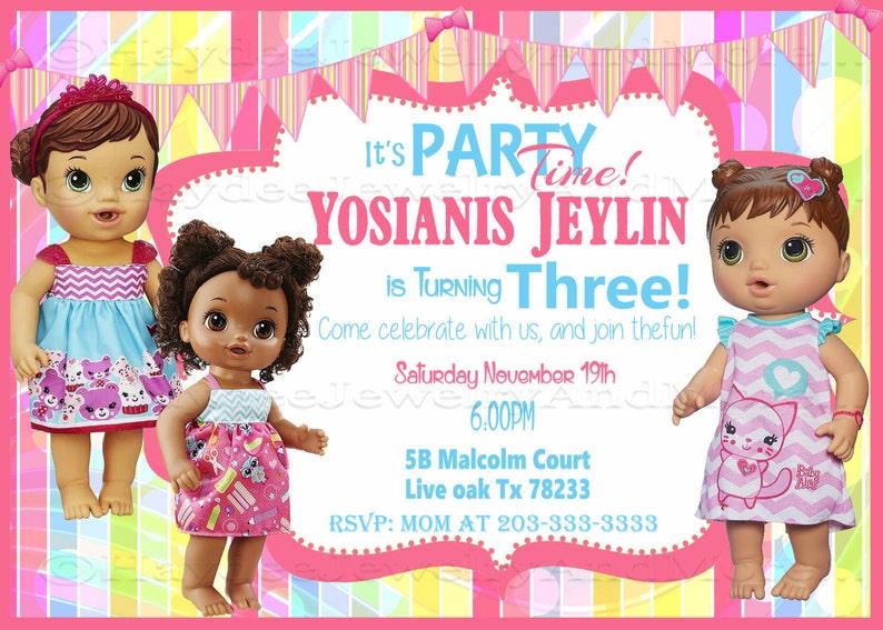 Baby Alive Girl Birthday Invitation Theme