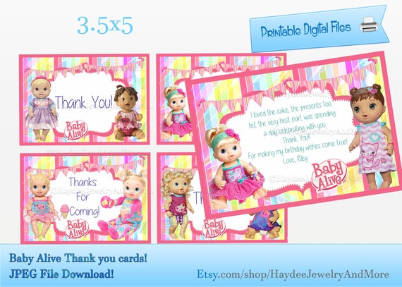 Baby Alive Thank You Card Birthday Card Inserts Baby Alive Etsy