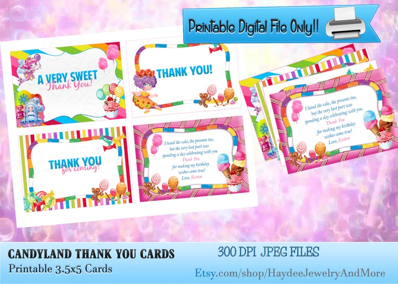 graphic regarding Printable Candyland Cards named Candyland Thank your self Playing cards/ Birthday Thank Oneself Playing cards/ Candyland Topic PartyThank yourself Playing cards