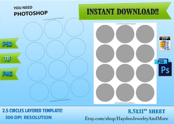 2 5 Circles Layered Labels Cupcake Toppers Circles Labels Psd Etsy