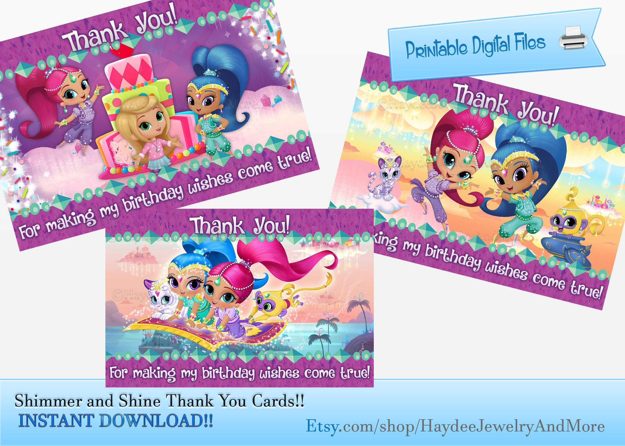Shimmer And Shine Thank You Cards Birthday Thank You Cards Etsy