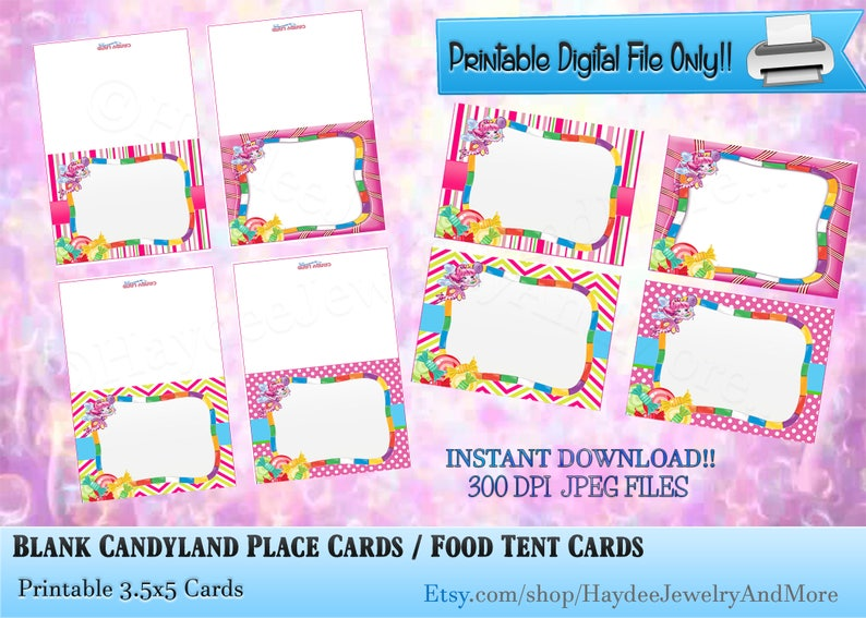 graphic regarding Printable Candyland Cards identified as Blank Candyland Level Playing cards / Food items Tent Playing cards Candyland Concept Folded Meals Tent Playing cards/ Birthday Stage Playing cards