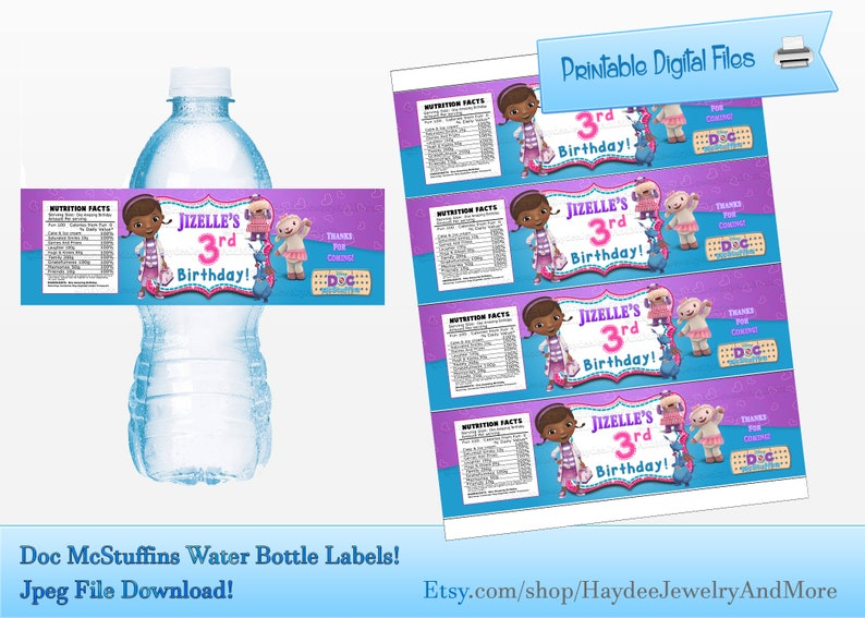 photo relating to Doc Mcstuffins Printable Labels named Document McStuffins Birthday H2o Bottle Labels- Document Mcstuffins Celebration Printables