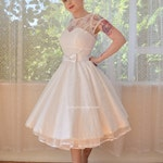 1950s 'Jessica' Rockabilly Wedding Dress with Lace Overlay, Sweetheart Neckline, Extra Full Circle Skirt and Petticoat - Custom made to fit