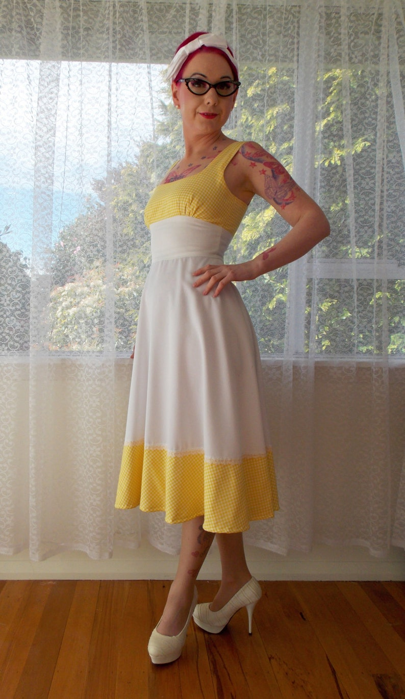 37ed35ca7ea 1950s Pin up White Sundress Beth with Yellow