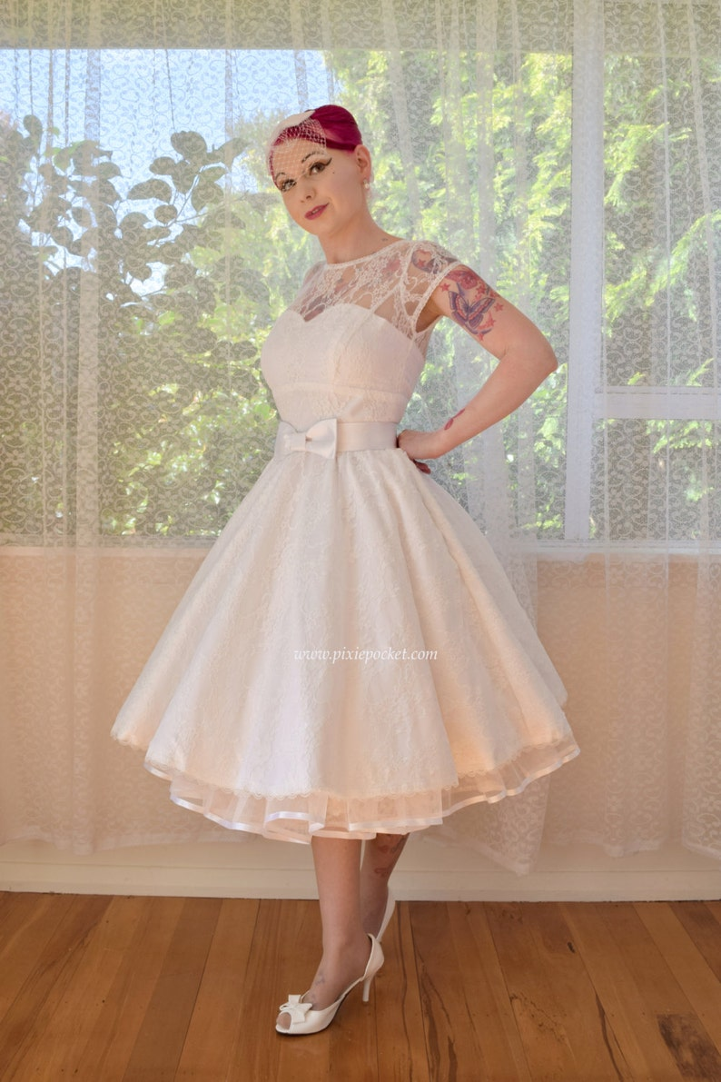 8f3661be8c 1950s  Jessica  Rockabilly Wedding Dress with Lace