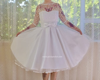 """1950's """"Anita"""" Polka Dot Wedding Dress with Sweetheart Neckline, Tulle Extra Full Circle Skirt and Petticoat - Custom made to fit"""