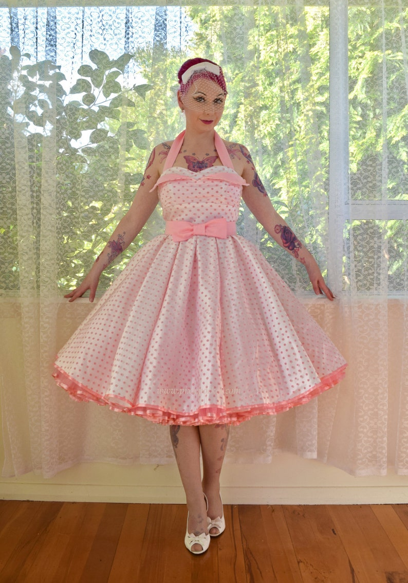 e88b691b5f 1950 s  Clover  Rockabilly Wedding Dress with Pink