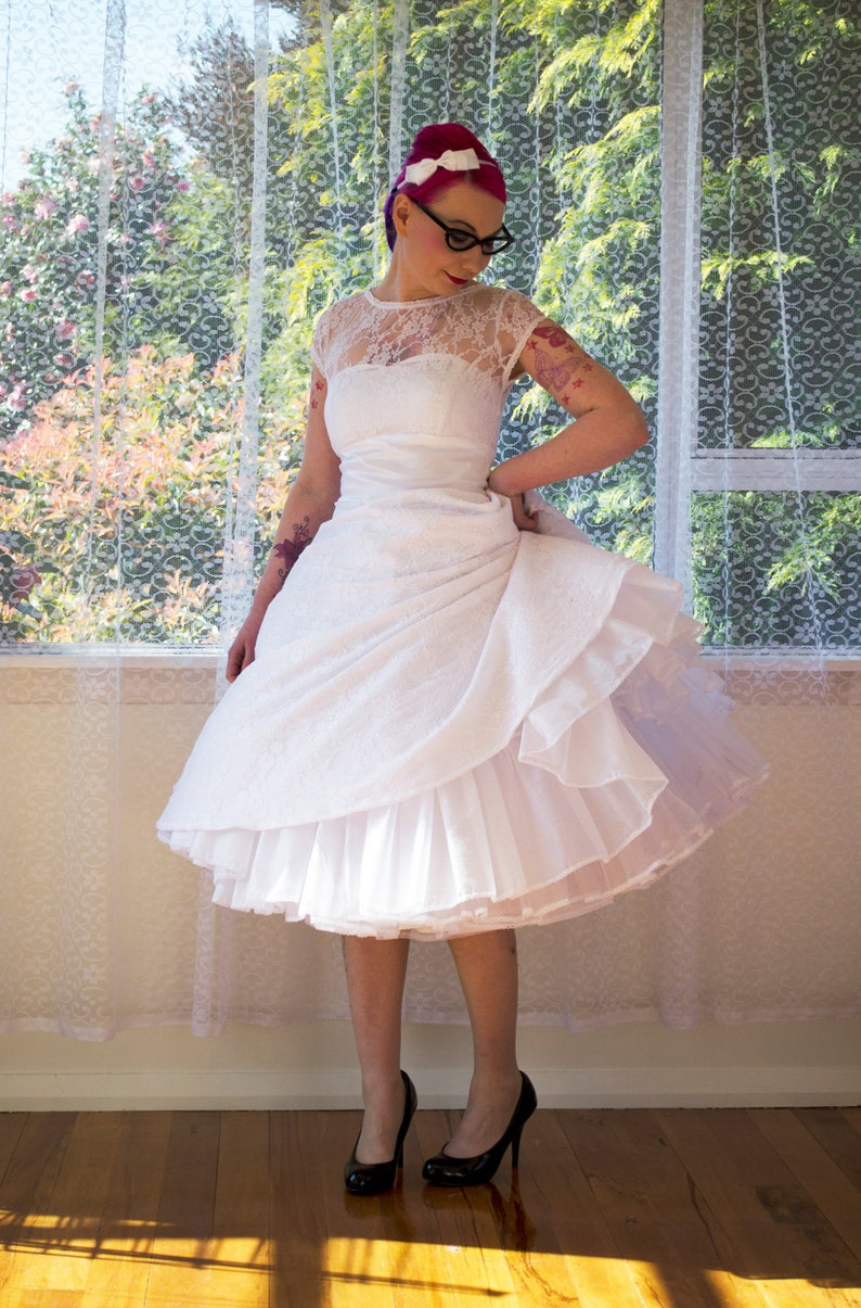 760e90a747 1950s Rockabilly Wedding Dress  Lacey  with Lace