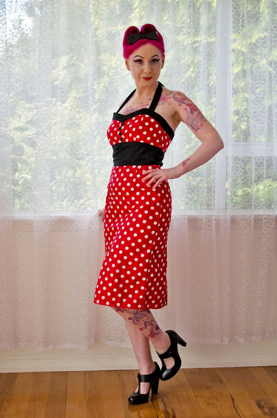 Red Polka Dot 'Dottie' Dress 1950s Pin up Rockabilly with Sweetheart Neckline, Black Contrast and Pencil Skirt custom made to fit