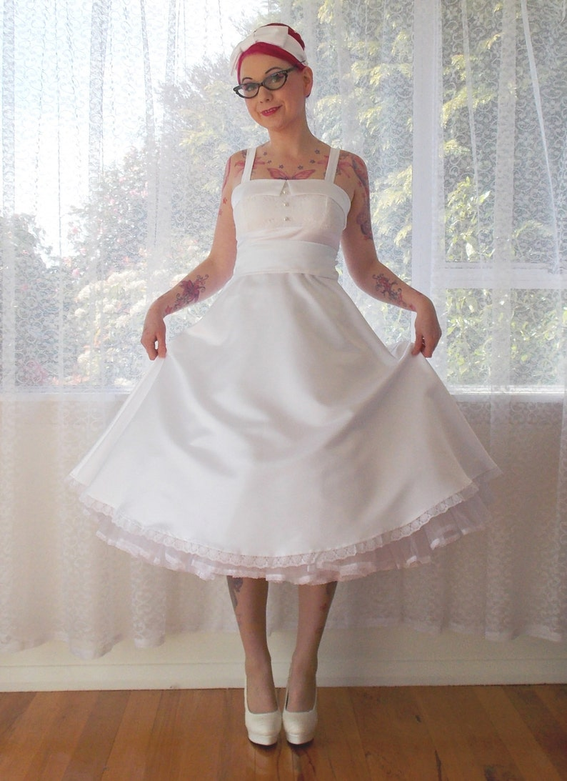 4e0c735d912 1950s  Lucille  Rockabilly Style Wedding Dress with a