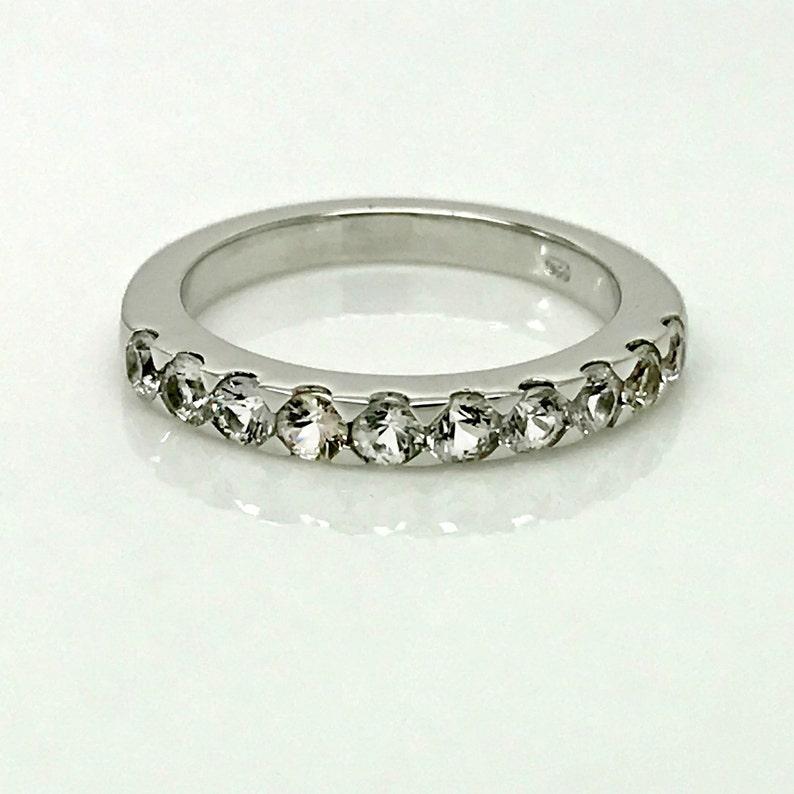 unique sapphire ring half eternity clear sapphire wedding band sterling silver sapphire ring size 4.75 White sapphire devotion ring
