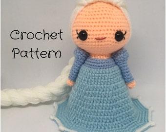 Elsa Frozen Doll Crochet doll Pattern - PDF Pattern, Amigurumi