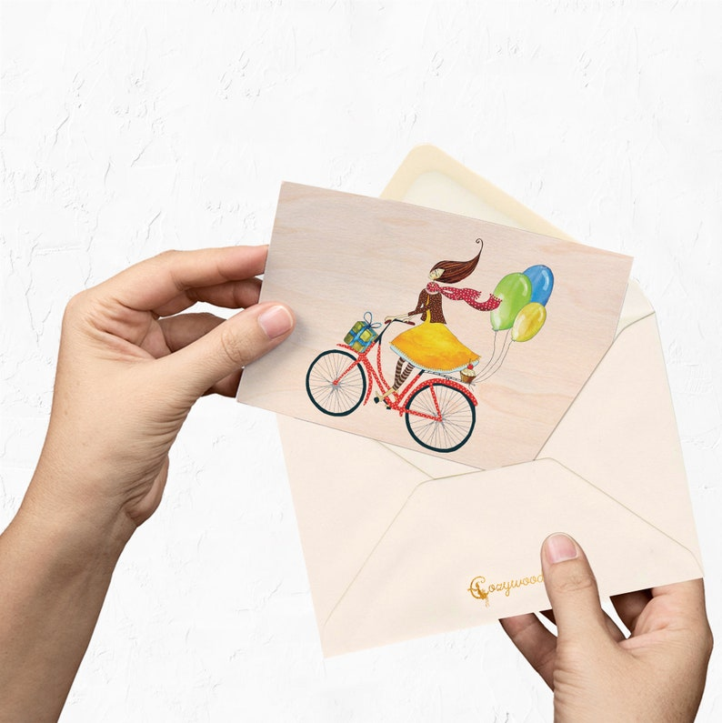 Wooden Handmade Birthday Card For Her Happy Bike