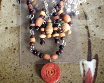 Wooden bead necklace and earring set, handmade jewelry, one of a kind
