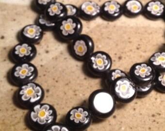 8mm Black Millefiori glass beads - jewelry destash, supplies