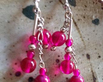 Hot pink and silver dangle earrings, bohemian earrings