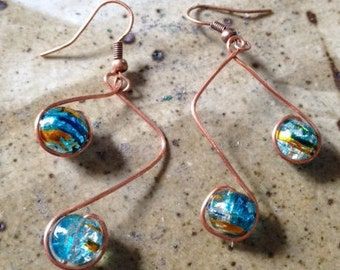 Copper note earrings with blue acrylic beads, one of a kind, handmade earrings