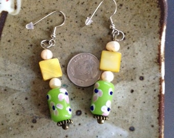 Yellow and green earrings with fresh water pearl earrings