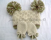 Crochet Baby Pom Pom Hat and Thumbless Mittens Set, Neutral Colors, Off White, Tan, Brown, and Green, Camo, 0 to 24 months