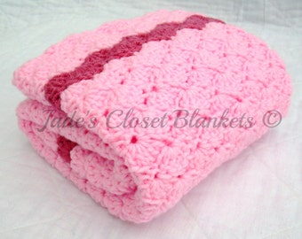 Crochet Baby Blanket, Baby Blanket, Crochet Pink Baby Blanket, Cotton Candy Pink with Raspberry, crib size