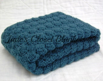Crochet Baby Blanket, Baby Blanket, Crochet Blue Baby Blanket, Cape Cod Blue, travel size