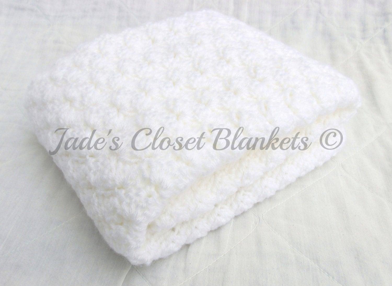 Crochet bebé manta manta del bebé blanco nube blanca cobija | Etsy