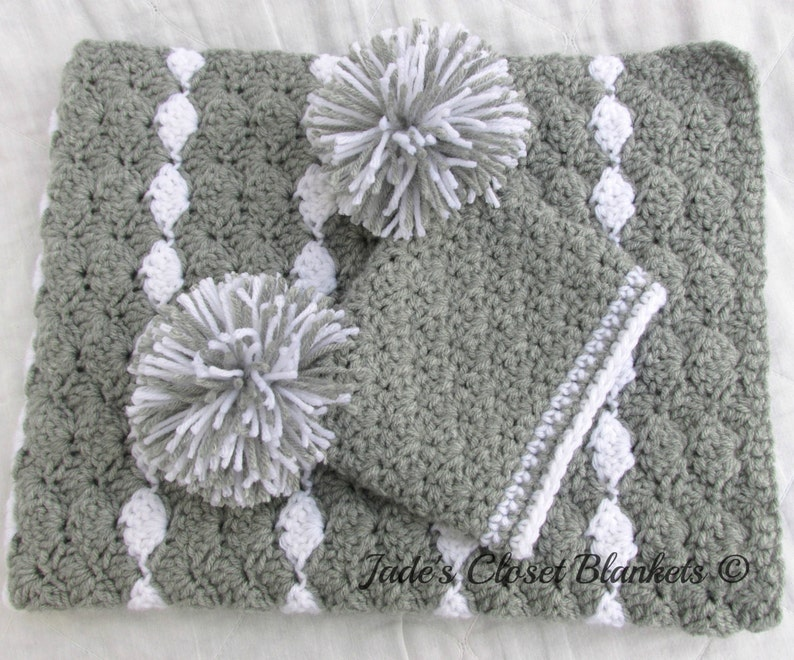 fd87f1e3a9efd Baby Gift Set, Crochet Baby Crib Blanket and Hat Gift Set, Gray and White,  Grey, Neutral