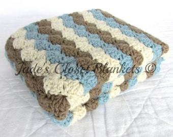 Crochet Baby Blanket, Baby Blanket, Crochet Baby Boy Blanket, Blue, Brown, and Cream, stroller travel pram size