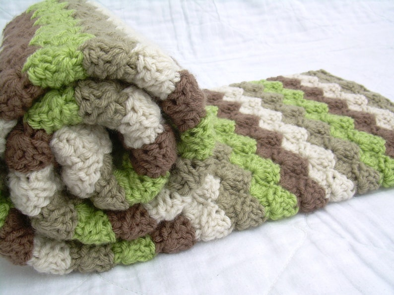 crib size Crochet Baby Blanket Baby Blanket Off White Green Khaki Earth Tones and Brown