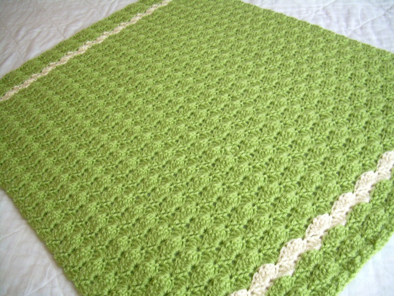 Sweet Pea Green and Off White Crochet Green Baby Blanket Baby Blanket travel size Crochet Baby Blanket