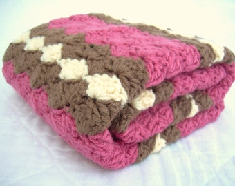 Crochet Baby Blanket, Baby Blanket, Crochet Pink Baby Blanket, Pink, Brown, and Cream waves, crib size