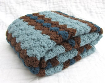 Crochet Baby Blanket, Baby Blanket, Crochet Blue Brown Baby Blanket, Blues and Brown, crib size