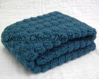 Crochet Baby Blanket, Baby Blanket, Crochet Blue Baby Blanket, Cape Cod Blue, crib size