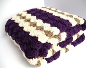 Crochet Baby Blanket, Baby Blanket, Crochet Purple Baby Blanket, Purple, Cream and Brown Waves, crib size