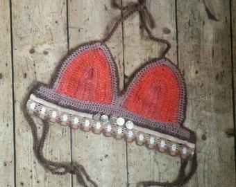 0760484293 Festival clothing hippy boho crochet bralette burnt orange crop bra top  halter neck backless tops handmade Dolly Topsy Etsy UK