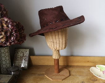 6785077d Vintage leather hat chocolate brown trilby mens hats large accessories  cowboy embroidery exploring sunhat menswear Dolly Topsy Etsy UK