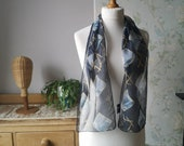 Vintage silk scarf abstract bandana kitsch navy blue sustainable gift fashion ideas birthday Christmas presents Dolly Topsy Etsy UK