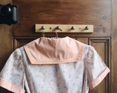 Vintage sailor collar dress size 10 small vtg clothing sustainable fashion brown peach floral matching belt casual Dolly Topsy Etsy UK