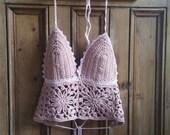 Bohemian crochet top size small cami lace halter vest bralette women tops festival dusky pink beach boho bralet camisole Dolly Topsy Etsy UK