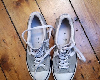 Ladies vintage converse size 3. 5 all star grey sneakers lace up pumps  casual shoes classic unisex footwear mens womens Dolly Topsy Etsy UK e1f21128d