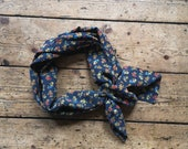 Vintage bandana scarf Teddy bear clothing navy blue accessory luxury silk bandana neckerchief cute sustainable fashion Dolly Topsy Etsy UK