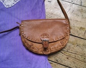 Ladies vintage boho 1970s bag leather bohemian accessories shoulder bags brown strap hippie coach purse hand stitched Dolly Topsy Etsy UK