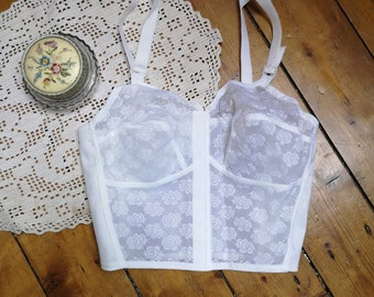 109eecb7340ff Ladies vintage lingerie bralette top bra tops 1960s underwear white dead  stock bralet lace boho bohemian hippie strapy Dolly Topsy Etsy UK