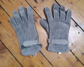 Mens gloves real suede leather large hand warmers medium size cuffs gray 80s warm winter accessories original womens Dolly Topsy Etsy UK