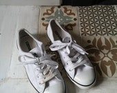 Ladies vintage converse size 4 all star white leather sneakers lace up pumps casual shoes classic footwear mens womens Dolly Topsy Etsy UK