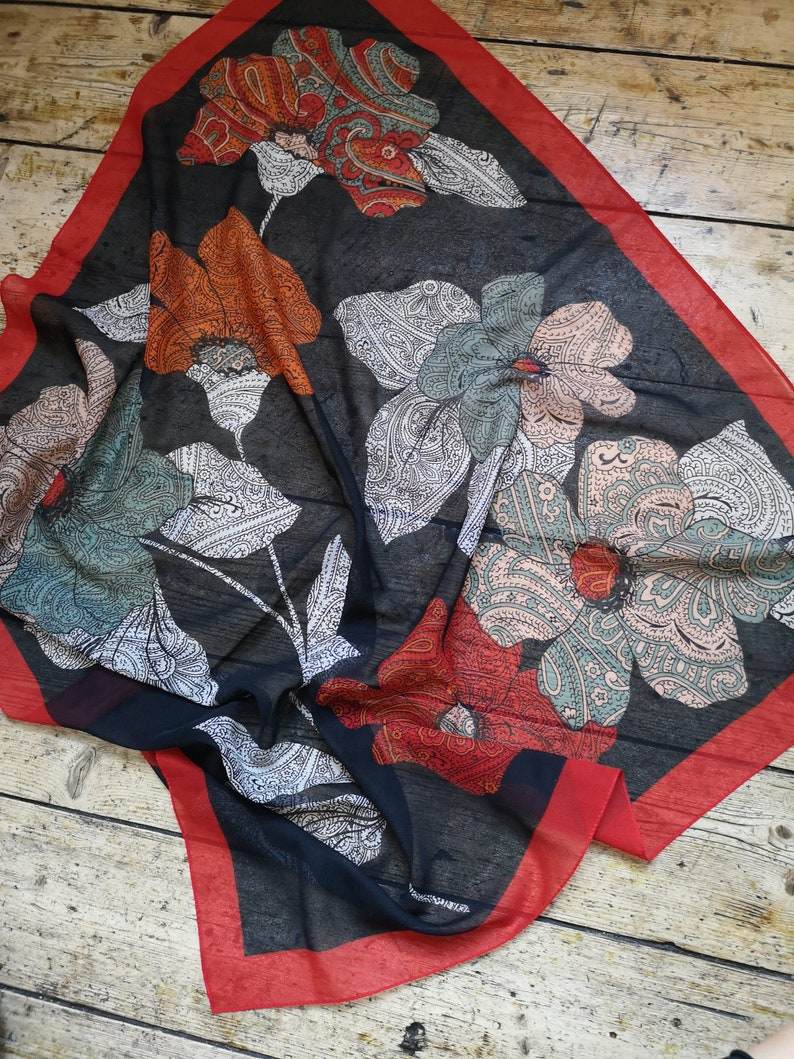 Vintage Codello bohemian 70s scarf paisley black floral design ladies accessories red boarder gift birthday Christmas Dolly Topsy Etsy UK
