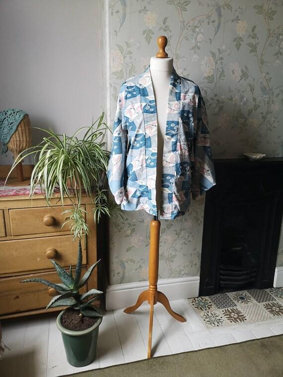 Vintage Japanese kimono jacket navy blue floral design bohemian hippie coat party top womens clothing retro traditional Dolly Topsy Etsy UK