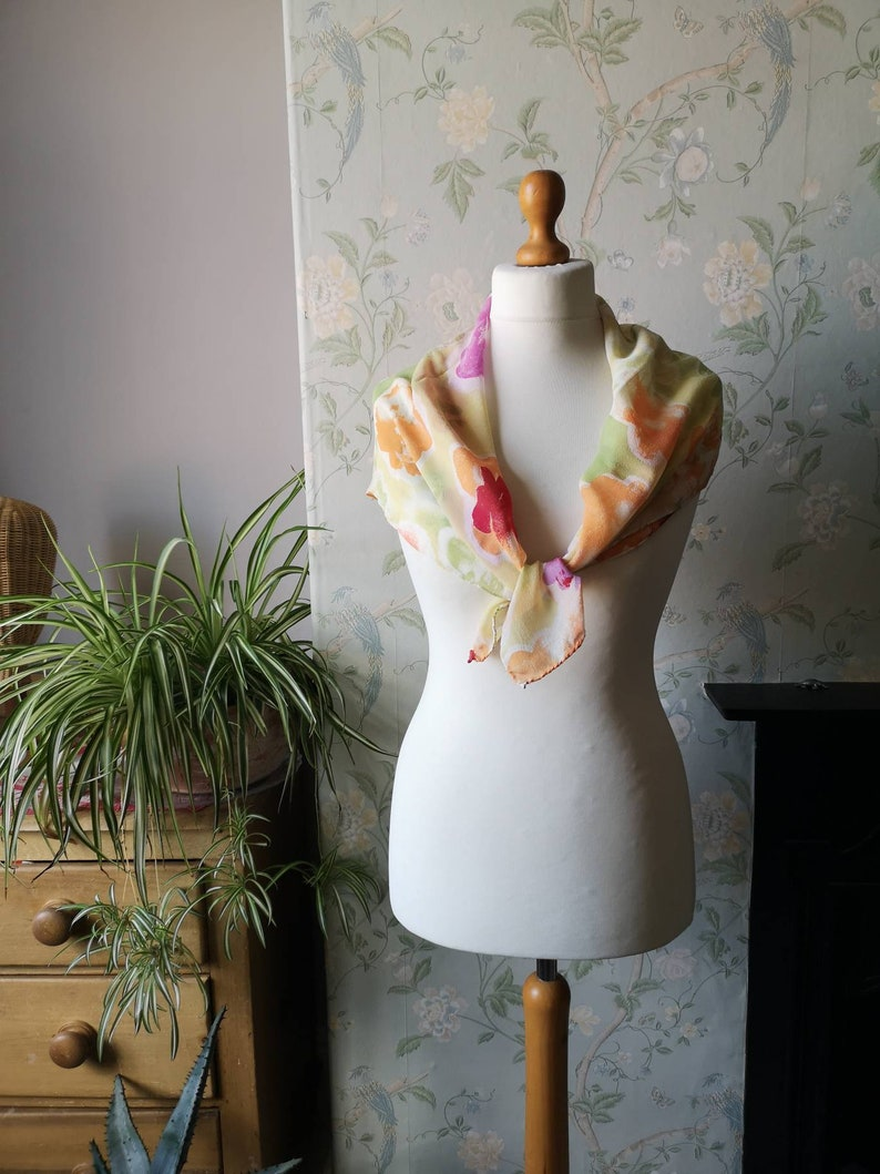 Ladies vintage scarf silk hippie boho Festival accessories  green orange neckerchief  large shawl top bikini bandana Dolly Topsy Etsy UK